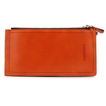 Long Leather Wallet Card Holder Clutch Bifold Phone Orange - Intl