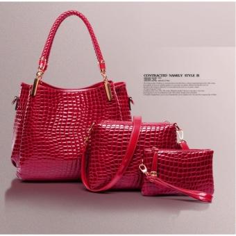 Bộ 3 túi xách vân cá sấu CHODEAL24H (đỏ)