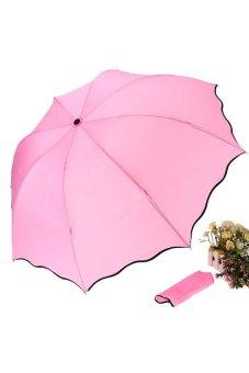 HKS Princess Lady Girl Flouncing Dome Parasol Sun/Rain Folding Umbrella Leaves Wave - intl