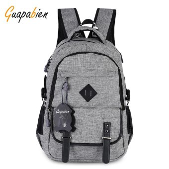 Guapabien Preppy Style Large Capacity USB Port Hole Multifunction Backpack For Men(Grey) - intl