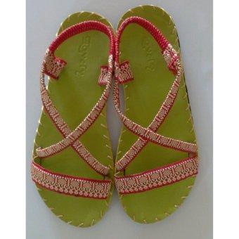 Sandal thổ cẩm nữ quai ngang (Xanh lá) TFW8532 #36