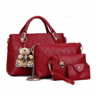 4pcs SET Borsa Donne Tracolla Bauletto Borsetta Pelle Satchel Spalla Handbag Bag purplish red - Intl