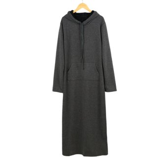 Korean Fashion Women Dress Hooded Neck Front Pouch Pocket Long Sleeve Fleece Lining Maxi Long Dress Hoddies - Intl