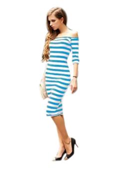 Sunweb Half Sleeve Strapless Stripe Dress (Sky Blue) - Intl