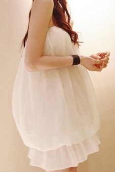 Linemart Women Sexy Strapless Layered Chiffon Loose Casual Party Mini Dress White - intl