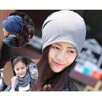 Mũ khăn trùm đầu thun trơn đa năng A050 (Xám)