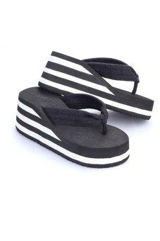 80621-4 Women Fashion Platform Flip Flop(Black) - intl