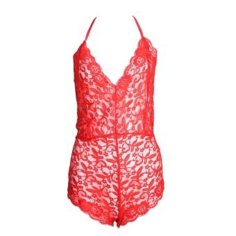 Women Summer Skinny V-neck Large Size Lace Patchwork Jumpsuit (Red)(S) - intl