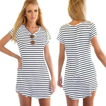 New Women Crew Neck Short Sleeve Striped Loose T-Shirt Mini Dress - intl