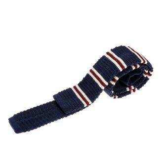 BolehDeals Men's Wool Knitted Flat Woven Tie Necktie (Dark Blue Striped) - intl