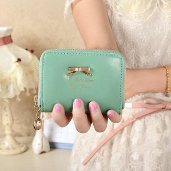 Women Fashion Cute Purse Clutch Wallet Short Small Bag PU Card Holder Light Blue - intl