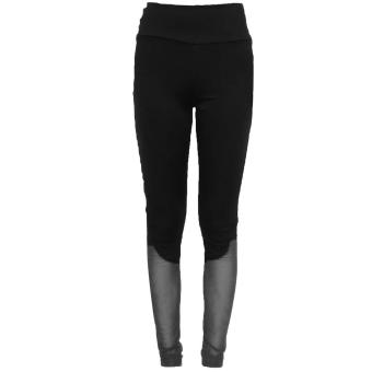 Women Patchwork Mesh Stretchy Fitness Sports Gym Leggings Pants Trousers Running YOGA Tights Casual Skinny Basic Black L - intl