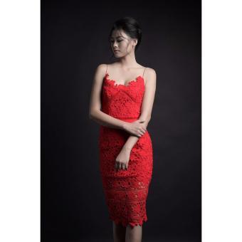 Đầm body ren lá hai dây cao cấp màu đỏ