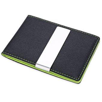 JINBAOLAI Unisex Short Hard Money Clip Open Horizontal PU Leather (Green) - Intl - intl