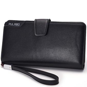 Men Long Wallet Zipper Credit Cards Mobile Phone Holder Black (Intl)