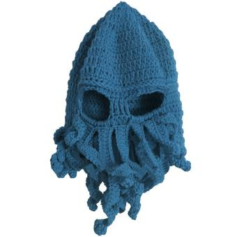 Unisex Kids Child Octopus Style Acrylic Fibers Winter Warm Knitting Face Mask Knitted Beard Squid Hat Cap for 3-8 Years Old Kids Blue - intl