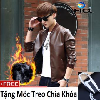 Áo Khoác Da Lót Lông Nhẹ + Tặng Móc Treo Chìa Khóa HQ 2AO63-4 (Nâu)