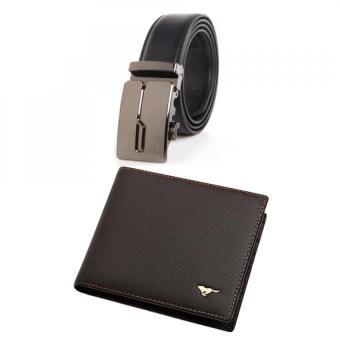 Bộ ví da và dây lưng mặt báo DT4