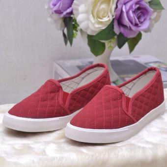 Giày Slip on nữ trần chỉ (đỏ)
