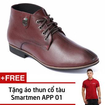 Giày Da Nam Cao Cổ Tăng Chiều Cao Smartmen Gd-111 (Nâu) + Tặng Áo Thun Nam App01