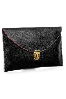 Sunweb Women Golden Chain Envelope Purse Clutch Synthetic Leather Handbag Shoulder Bag?Dinner Party ( Black ) - Intl