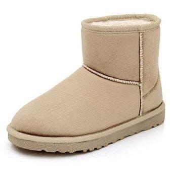 Cyber Unisex Winter Boots Faux Fur Suede Mid Ankle Calf Warm Snow Plush Shoes (Beige) - Intl