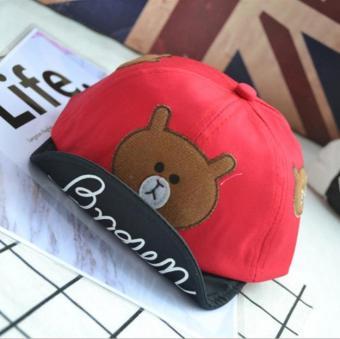 Nón (mũ) lưỡi trai hình gấu cho bé trai và bé gái mầu đỏ (M17)