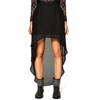 YOINS 2016 New Summer Women Chiffon Skirt Fashion Asymmetric High-low Skirt High Elastic Waist Skirt Saia Feminino Plus Size - intl