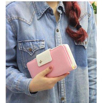 Birds Clutch Wallet Leather Case Long Zip Button Card Purse Handbag Pink - intl