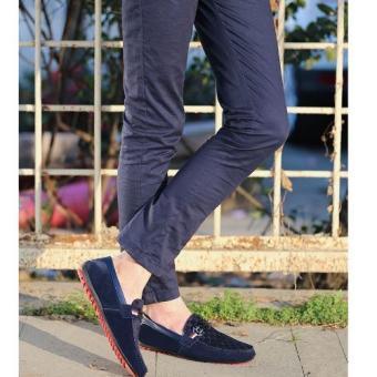 Giày lười nam da lộn thời trang (Xanh)