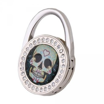 BolehDeals Table Foldable Purse Bag Rhinestone Hanger Handbag Hook Holder Gift Skull 12 - intl