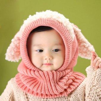 Winter Beanie Baby Kids Boy Girl Warm Hat Hooded Scarf Earflap Knitted Wool Cap Pink - intl