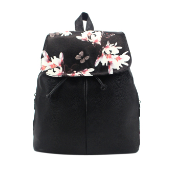 Lovely Floral Printing Leather Backpacks(Black) - intl