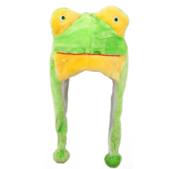 Cartoon Animal Shaped Children Kids Adult Winter Warm Soft Plush Hood Earmuff Scarf Hat Cap Green Frog (Intl)
