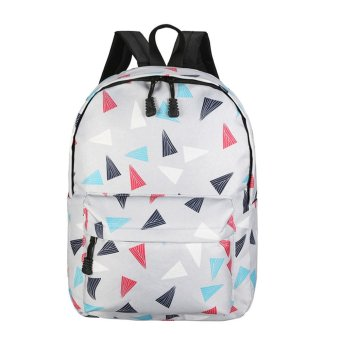Women Recreation Travel Canvas Triangular Geometry Satchel School Bag Backpack Grey - intl