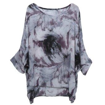 niceEshop Women Bohemian Floral Printed Chiffon Loose Blouse Shirts - Intl