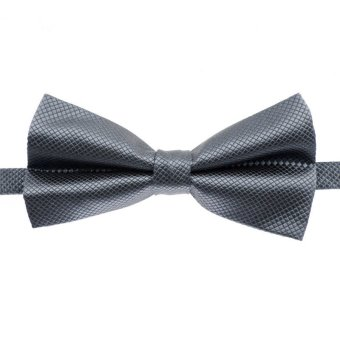 Fashion Men's Tuxedo Bowtie Solid Color Neckwear Adjustable Wedding Party Bow Tie Necktie Pre-Tied Light Gray - Intl