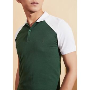 Áo phông Polo xanh bộ đội phối trắng