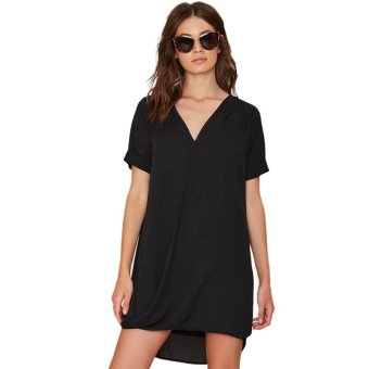 Fancyqube Women Casual Mini Dress Summer Style Chiffon Losse Dress Black - Intl