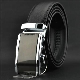 LALANG Fashion Men Automatic Buckle Faux Leather Belt 2# (Black)
