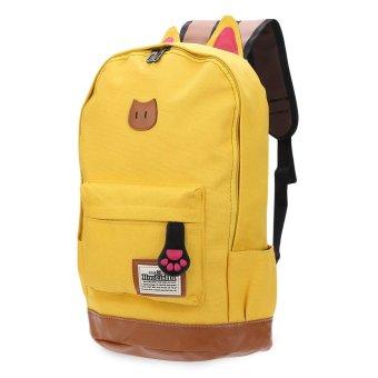 Preppy Style Portable School Backpack Zipper Buckle Girl(Yellow) - intl