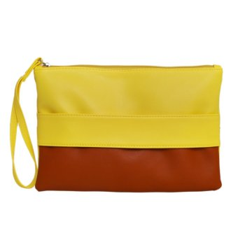 Women Fashion PU Leather Clutch(Yellow and Brown) - intl