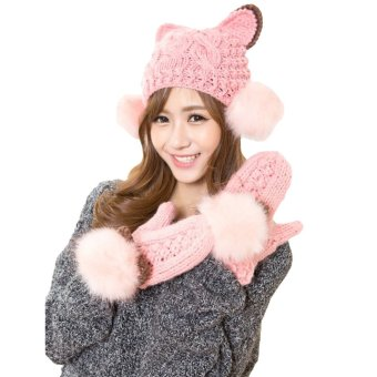 New Fashion Winter Women Knitted Mittens Contrast Color Faux Fur Cat Ears Warm Gloves - Intl
