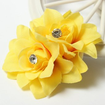 Women Charming Fancy Hair Bun Flower Clip Pin For Bridal Wedding Prom Party NEW Yellow - intl