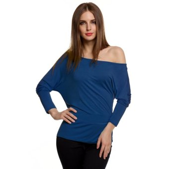 Sunweb Meaneor Korean Stylish Ladies Women Casual Long Batwing Sleeve Off Shoulder Solid Loose Shirt Blouse T-Shirt Top ( Navy blue ) - intl
