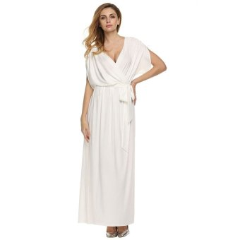 Cyber ANGVNS Sexy Women Batwing Sleeve Deep V Neck Solid Maxi Long Dress Party Evening Full Gown with Belt ( White ) - Intl