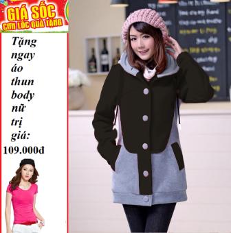 Áo Khoác nữ kitty (Đen) + Tặng áo thun body nữ