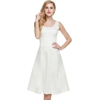 Linemart Meaneor Women 1950s Vintage Style Sleeveless Casual Party Swing Midi Dress ( White ) - intl