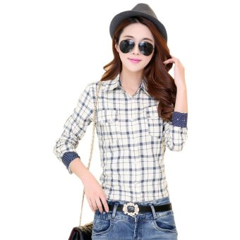 Women Shirt Turn Down Collar Plaid Print (Off-white) - Intl