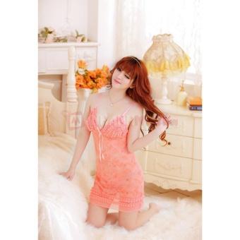 Đầm ngủ hoa tiết viên đá CDAN10 Kim Phát (cam)